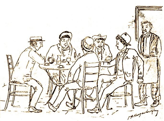 Αποτέλεσμα εικόνας για καφενειο σκιτσο