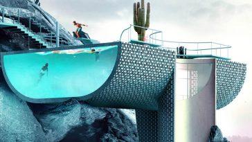 Blue House: Φουτουριστικές εικόνες απ' το σπίτι που έχει πισίνα για πρόσοψη